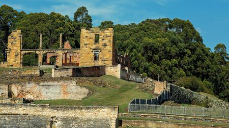 The former penal colony of Port Arthur on the Tasman Peninsular where convicts were transported and housed in Australia, now a tourist attraction. Cinematic colour toning.