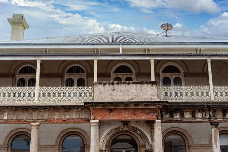 Mackay, Queensland, Australia - May 2020: Historic old heritage listed building in the city center being restored