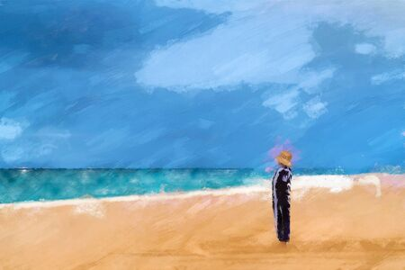 Digital water colour of a lone woman wrapped in a towel and wearing a straw hat standing on the beach in her dreams