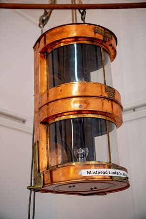 Townsville, Queensland, Australia - June 2020: Masthead lantern on display at maritime museum