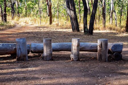 Logs used as tables and seating for a breakfast in the Australian bush for guests at a holiday park