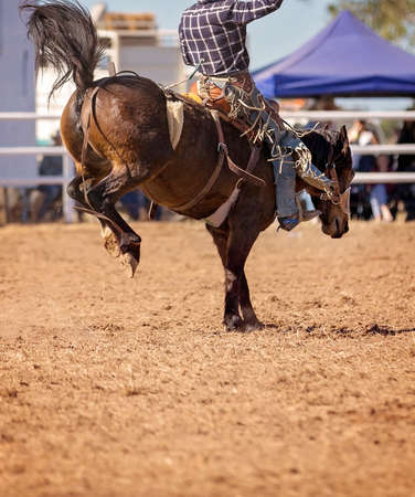 Cowboy competing in saddle bronc event at a country rodeo
