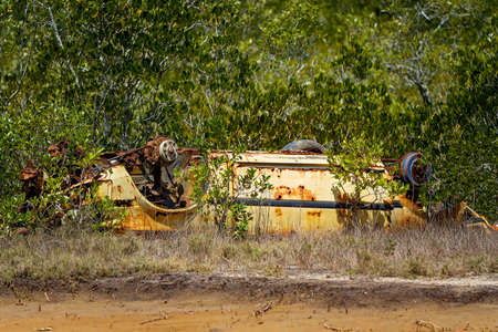 Rusting hulk wreck of a car left abandoned in the bush with many of its parts missing