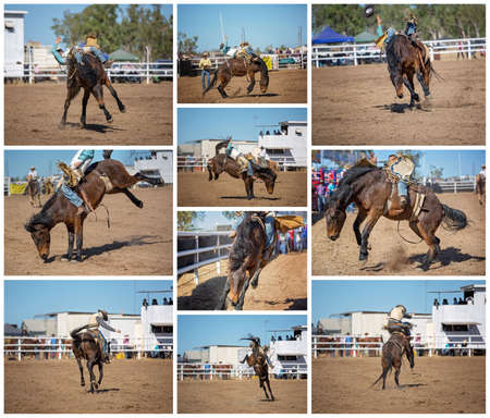 A collage of ten images of a cowboy bareback riding a bucking bronco at an outback rodeo Stock Photo