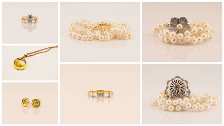 Collage of jewellery featuring diamond rings, gold pendant, emerald earrings, broaches and pearl necklaces Standard-Bild