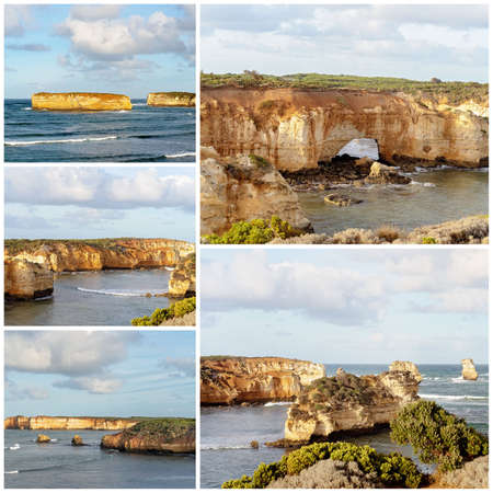 Collage of images of the Bay Of Islands on The Great Ocean Road in Victoria Australia - famous landmark