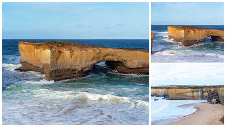 Collage of the well-known London Bridge tourist destination on the Great Ocean Road in Victoria Australia