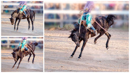 Collage of images of bucking broncos riding competition at a country rodeo Stock Photo