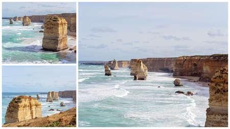 Collage of The Famous Twelve Apostles landmark tourist destination on The Great Ocean Road in Australia