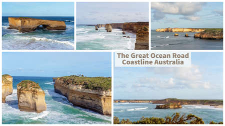 Collage of Australia's beautiful Victorian Great Ocean Road coastline, a well-known tourist destination