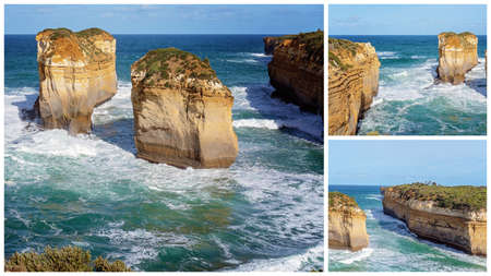 Collage of The well-known Island Archway at Loch Ard Gorge On The Great Ocean Road Australia