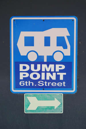 Dump point sign for the use of caravans and motor homes