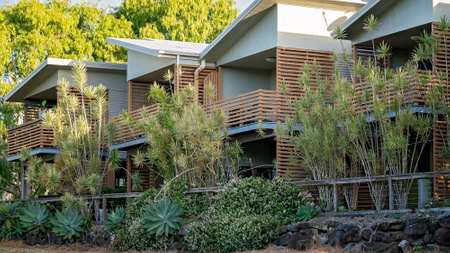 Mackay, Queensland, Australia - January 2021: A row of residential apartments in a leafy suburb