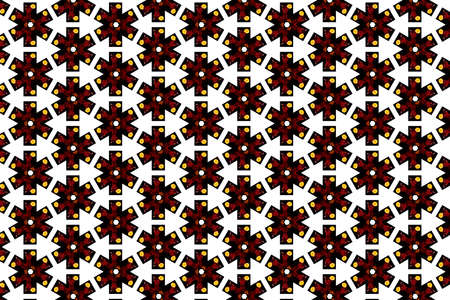 A cross shaped pattern featuring yellow flowers and red vase against a white background 免版税图像