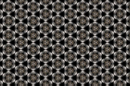 A geometric pattern in black white and bronze in circular shapes on a black background 免版税图像