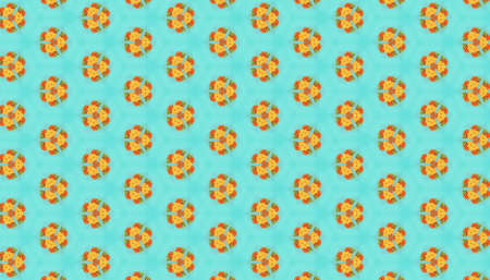 Yellow and orange circular repeating patterns on a blue background - suitable as a wallpaper 免版税图像