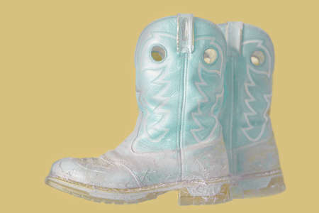 A pastel colored image of cowboy boots on a natural background