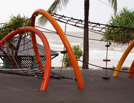 Climbing frame in a children's playground by the sea