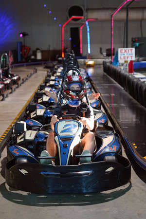 Mackay, Queensland, Australia - April 2021: Man go-kart driver lined up ready to race around the circuit Редакционное