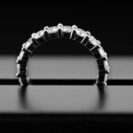 A diamond eternity ring, also known as an infinity ring, symbolizing never ending love, close up of the stones setting
