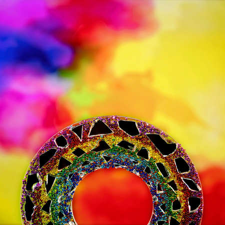 A colorful semi circle of decorative glass with a surface of tiny beads against a watercolor background