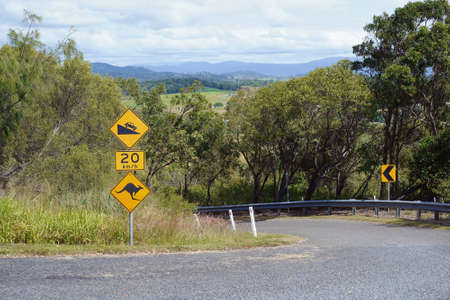 Road sign indicating speed for a steep decline and to beware of kangaroos Banco de Imagens