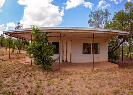 A retro building with curved features produced by a fisheye lens Banco de Imagens