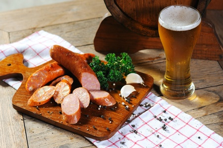 Fire Sausage with beer photo