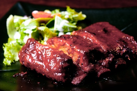 ribs with salad Stock Photo