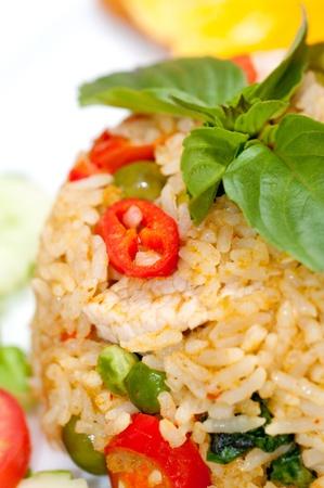 closeup of Thai pork fried rice
