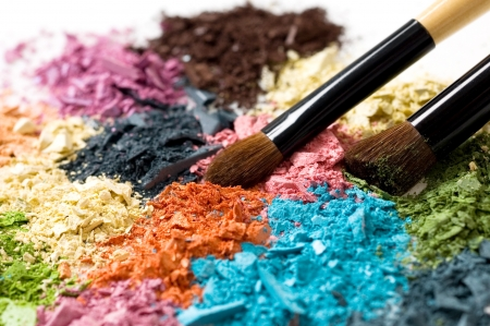 Closeup of blush and multicolor crushed eyeshadows