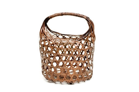 brown bamboo basket transparent, handicraft woven photo