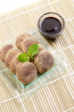 Japanese confectionery, mochi with chocolate photo