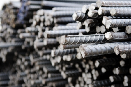 Steel rods or bars used to reinforce concrete, closeup