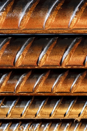 strenghten: Steel rods or bars used to reinforce concrete, closeup
