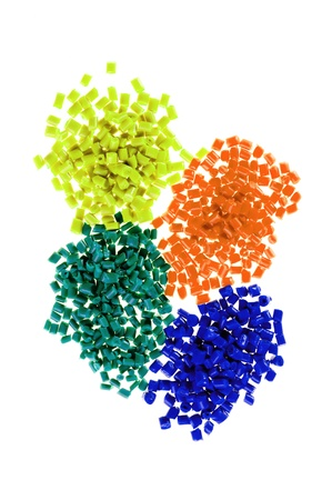 granules: Pile of colorful plastic polymer
