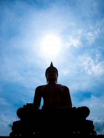 Siluate Buddha with sky at Wat Muang, Ang Thong thailand