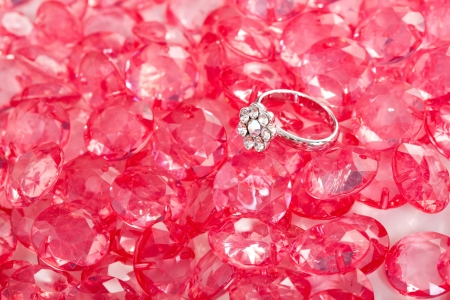 pink crystal diamond and ring  Stock Photo