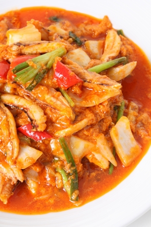 Chili Crab fire seafood Stock Photo
