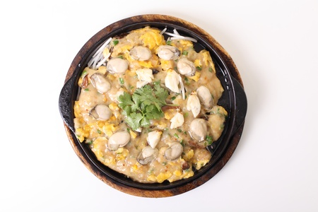 Oyster omelet fire with egg, chinese food