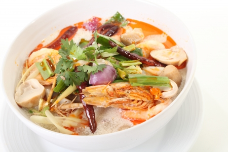 Tom Yum soup, a Thai spicy prawn soup photo