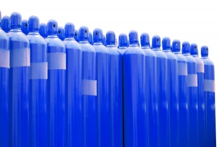 hidrogeno: azul cilindros tanque de hidr�geno Foto de archivo