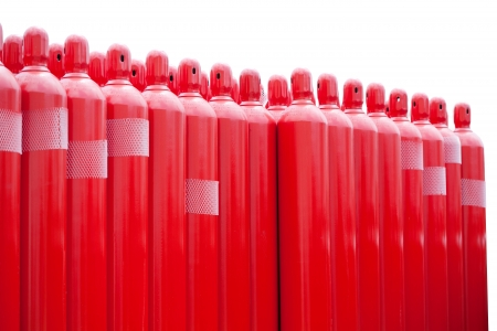 red hydrogen tank cylinders Stock Photo