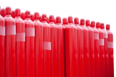hidrogeno: rojas cilindros tanque de hidr?geno Foto de archivo