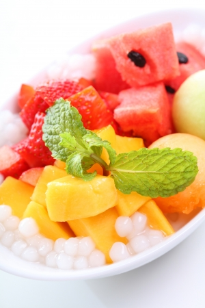 fresh mango and watermelon with coconut photo