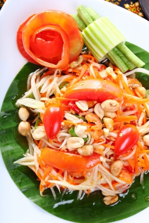 Thai papaya spicy salad, Som Tum Thai  photo