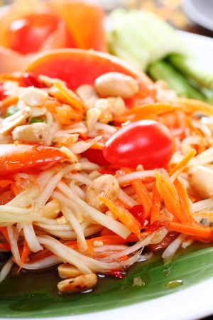 Closeup Thai papaya spicy salad, Som Tum Thai  photo