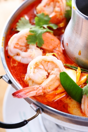 Tom Yam Kung, a Thai traditional spicy prawn soup