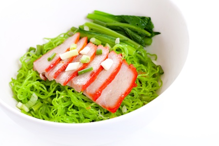 green noodle with pork and vegetables photo