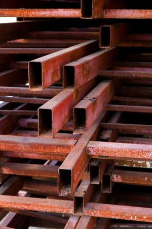 heavy joist: Pipes metal square section for construction Stock Photo
